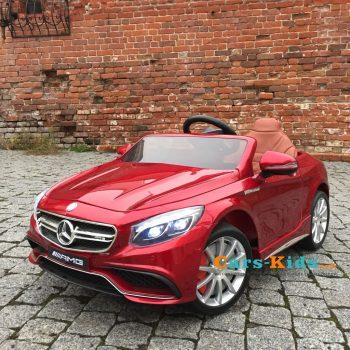 Электромобиль Mercedes-Benz S63 AMG красный (колеса резина, сиденье кожа, пульт, музыка)